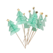 10pcs 3D Green Christmas Tree Honeycomb Picks Xmas Series Sticks Art Toothpicks Cupcake/Fruit/Ice cream Toppers Party Decor