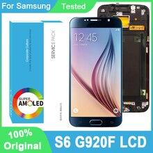 100% oryginalny 5.1 Super AMOLED wyświetlacz dotykowy Digitizer zgromadzenie dla Samsung Galaxy S6 G920 SM G920F G920F G920F