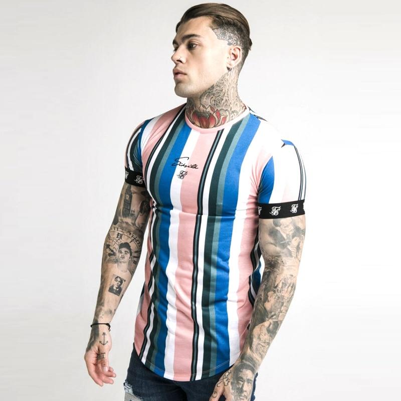 Fashion Men's Casual T-shirt Short Sleeve Gradient Siksilk O-neck T-shirt For Men Clothes 2019 Brand T-shirts New Men T-shirt