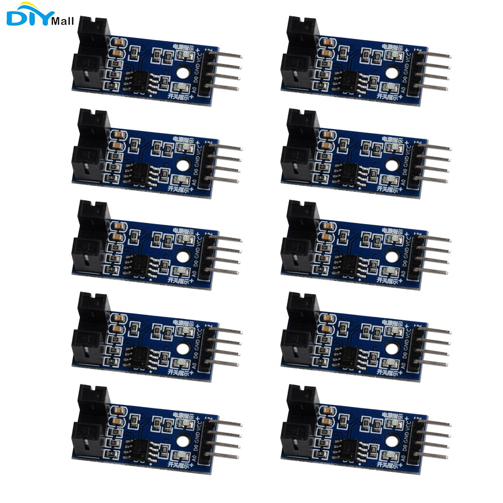 10pcs/lot LM393 Slot-type 4Pin Optocoupler Speed Sensor Measuring Module For Arduino Raspberry Pi