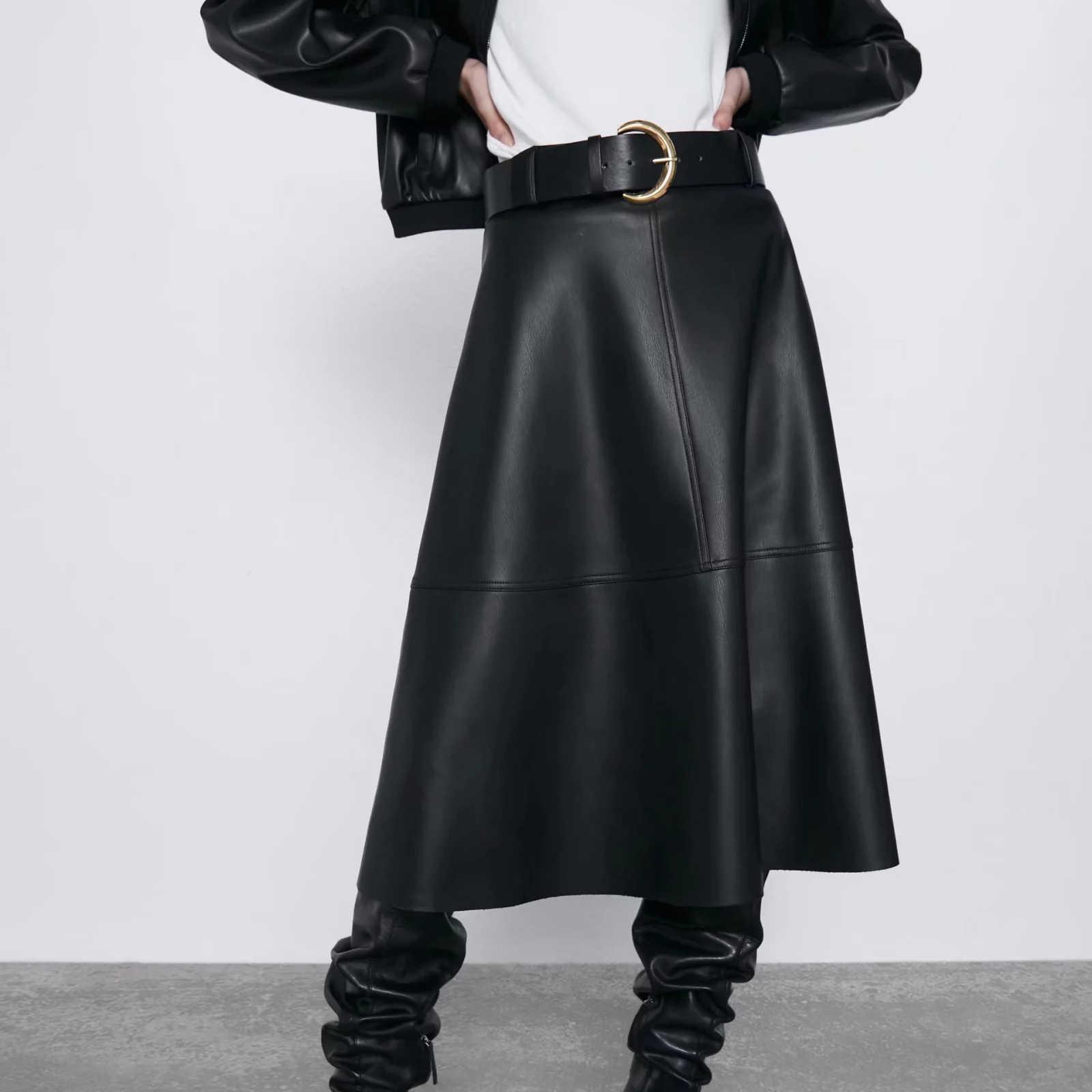 ZA autumn winter women's solid Faux leather A-line high waist black PU long pleated casual punk maxi skirt female women skirts