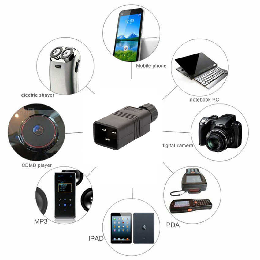 Siyah CE bakır IEC C20 UPS PDU APC bilgisayar güç çıkarılabilir kablo fişi 3Pin inline kablo endüstrisi dönüştürücü fiş 16A 250V