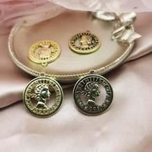 10 шт/пакет металла Красота головы монета Амулеты с вырезами