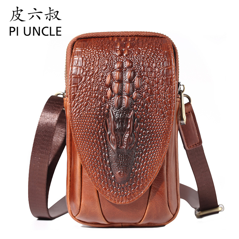 PI UNCLE Brand Alligator Genuine Leather Casual 6' Cell Phone Pouch Case Waist Belt Cross Fanny Pack Men Shoulder Messenger Bag