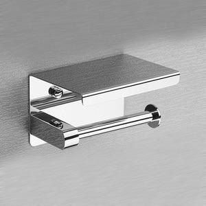Image 3 - Porta carta igienica ROVOGO SUS 304 in acciaio inossidabile con ripiano per telefono, porta rotolo di carta igienica per bagno
