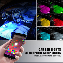 LED Car Interior Light Lamp Strip Decorative Atmosphere Light Wireless Phone APP Control For Android For iPhone Kit Foot Lamp new car rgb led neon interior light lamp strip decorative atmosphere lights wireless phone app control for android ios 12v