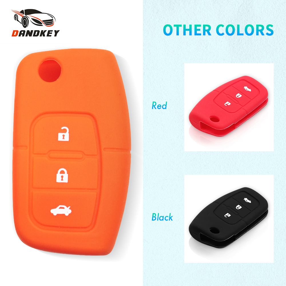 Dandkey Silicone Key Remote Cover Case Protect For Ford Fiesta Focus 2 Ecosport Kuga Escape 3 Buttons Car Flip Key Accessaries