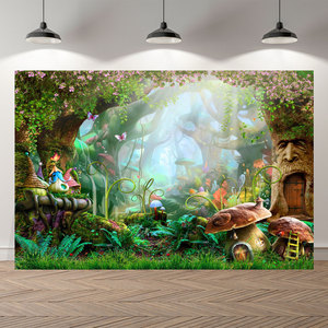 Image 4 - NeoBack Vinyl Enchanted Magic Forest Mushroom Baby Fairy Tale Land Princess Birthday Photocall Banner Photography Backgrounds