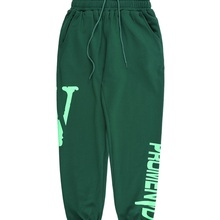 Trendy Brand Vlone Green Trousers, Spring and Autumn New Style Cotton Leggings, Letter Printing High Street Hip-hop Casual Trous