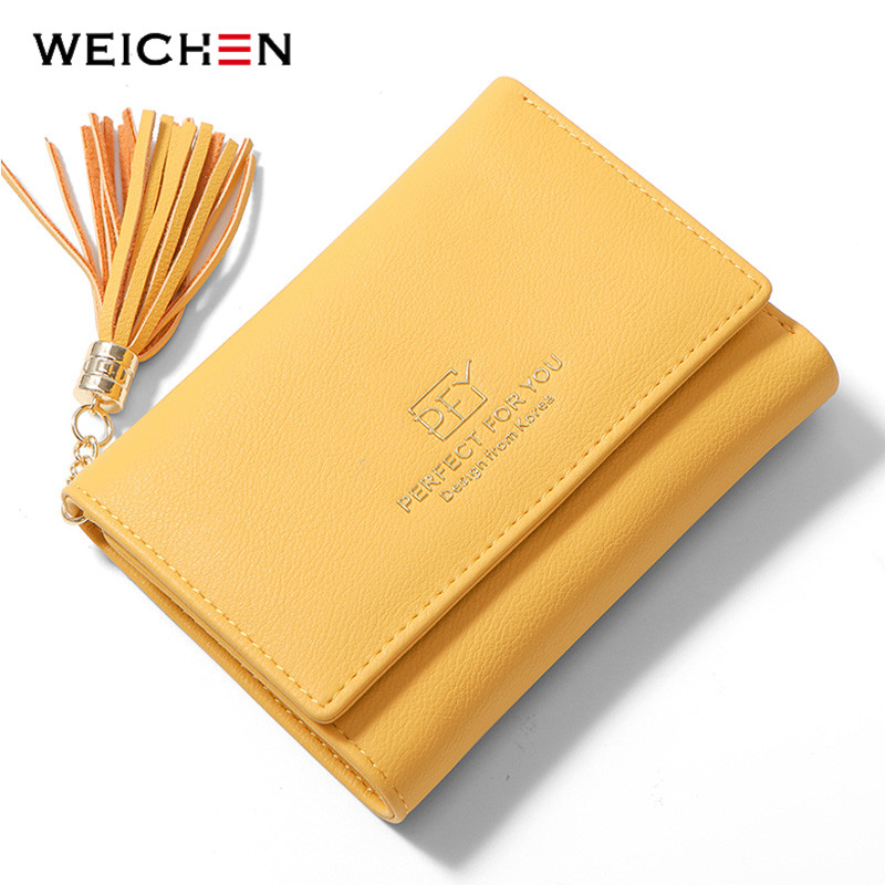 WEICHEN Many Departments Women Wallets Trifold Tassel Zipper Coin Purses Card Holder Ladies Purse Female Wallet Small Carteras