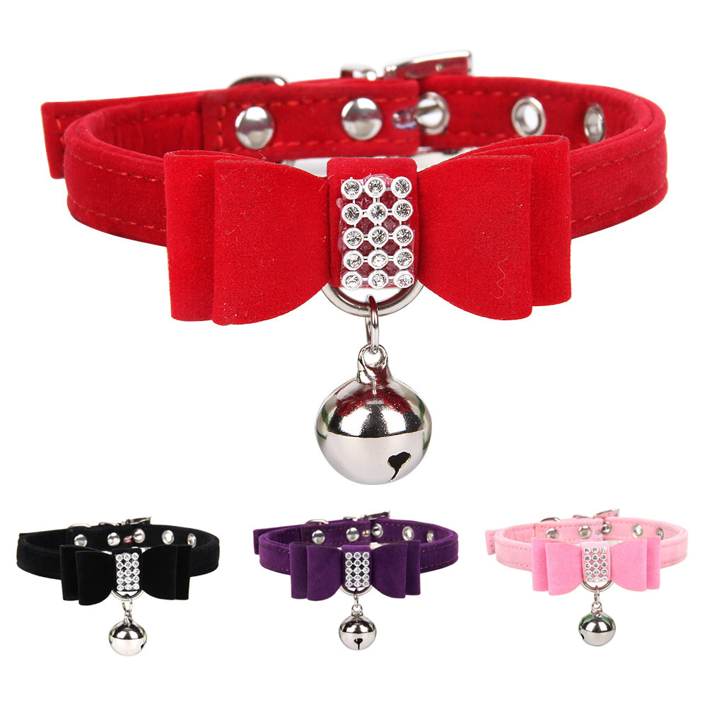 Velvet Elegant Diamond Bowtie Bow Hand Holding Rope Cat Neck Ring With Bell Pet Collar Dog Chain