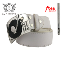 Classic AirVinyl Player Metal Music Belt Buckle In Silver Plating, Men's with