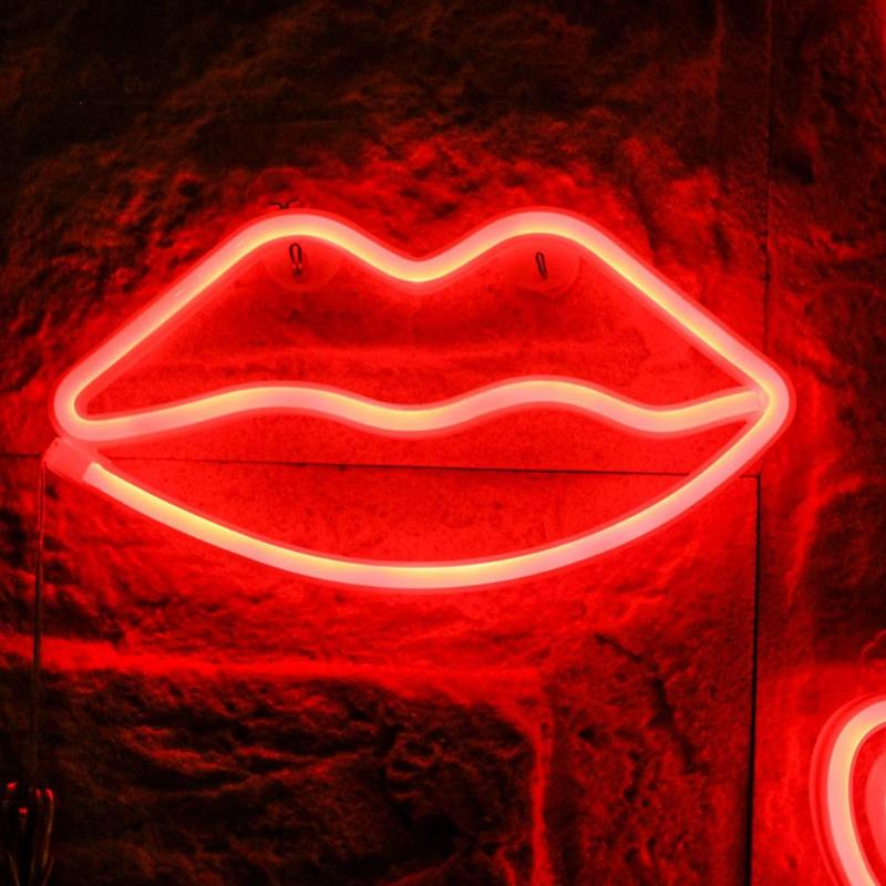 LED Neon Sign Night Lights Lips Lamp Wall Decor Light USB socket for Indoor Christmas Wedding Party Kids Room Love Romantic