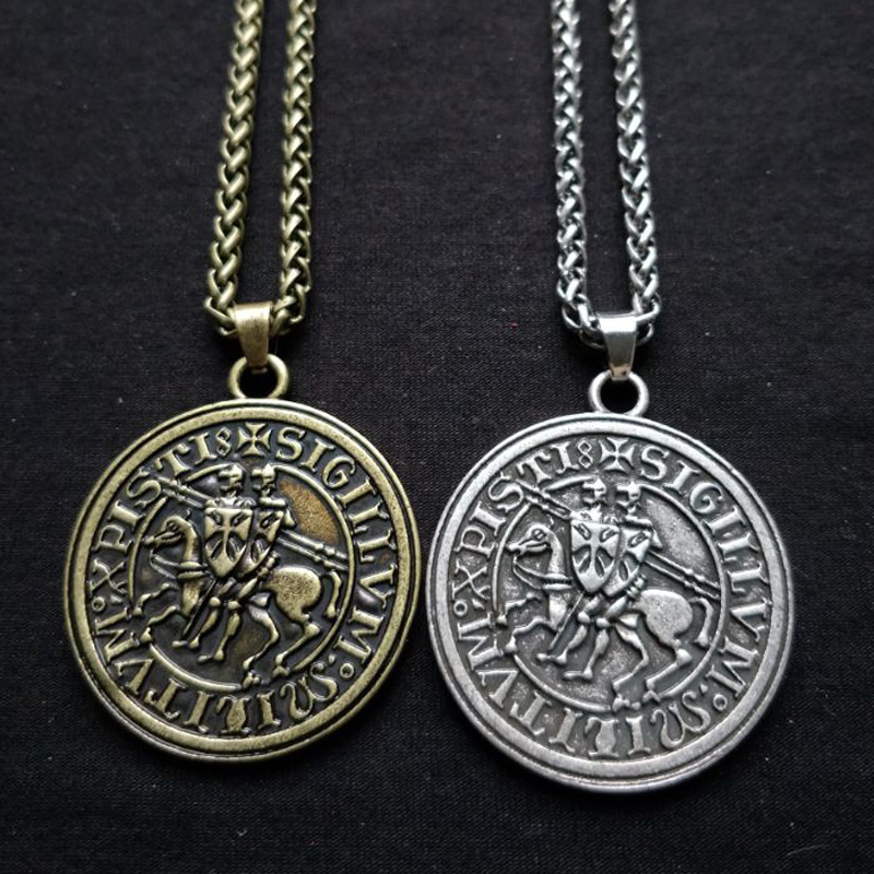 Viking Double War Horse Greek Latin Amulet Jewelry Knights Templar Exquisite Commemorative Seal Pendant Necklace(China)