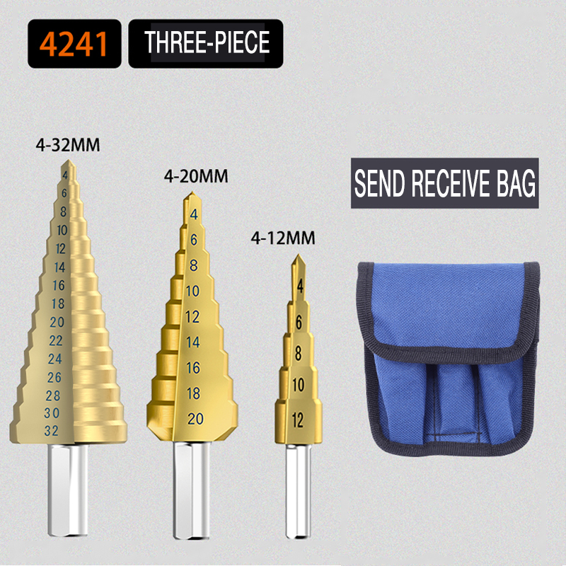 1 3Pcs lot Professional HSS Steel Large Step Cone Triangular handle Coated Metal Drill Bit Cut Tool Set Hole Cutter 4 12 20 32mm in Drill Bits from Tools
