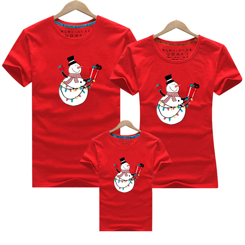 Christmas Snowman Mother Daughter Clothes Family Matching Outfit Family Clothing Cotton Father Son Boys Women Girl T Shirt