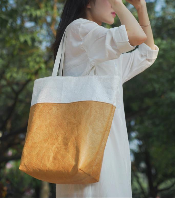 Модная подходящая по цвету водонепроницаемая сумка dupont для мытья бумаги, Экологически чистая сумка для покупок, черная, белая, желтая