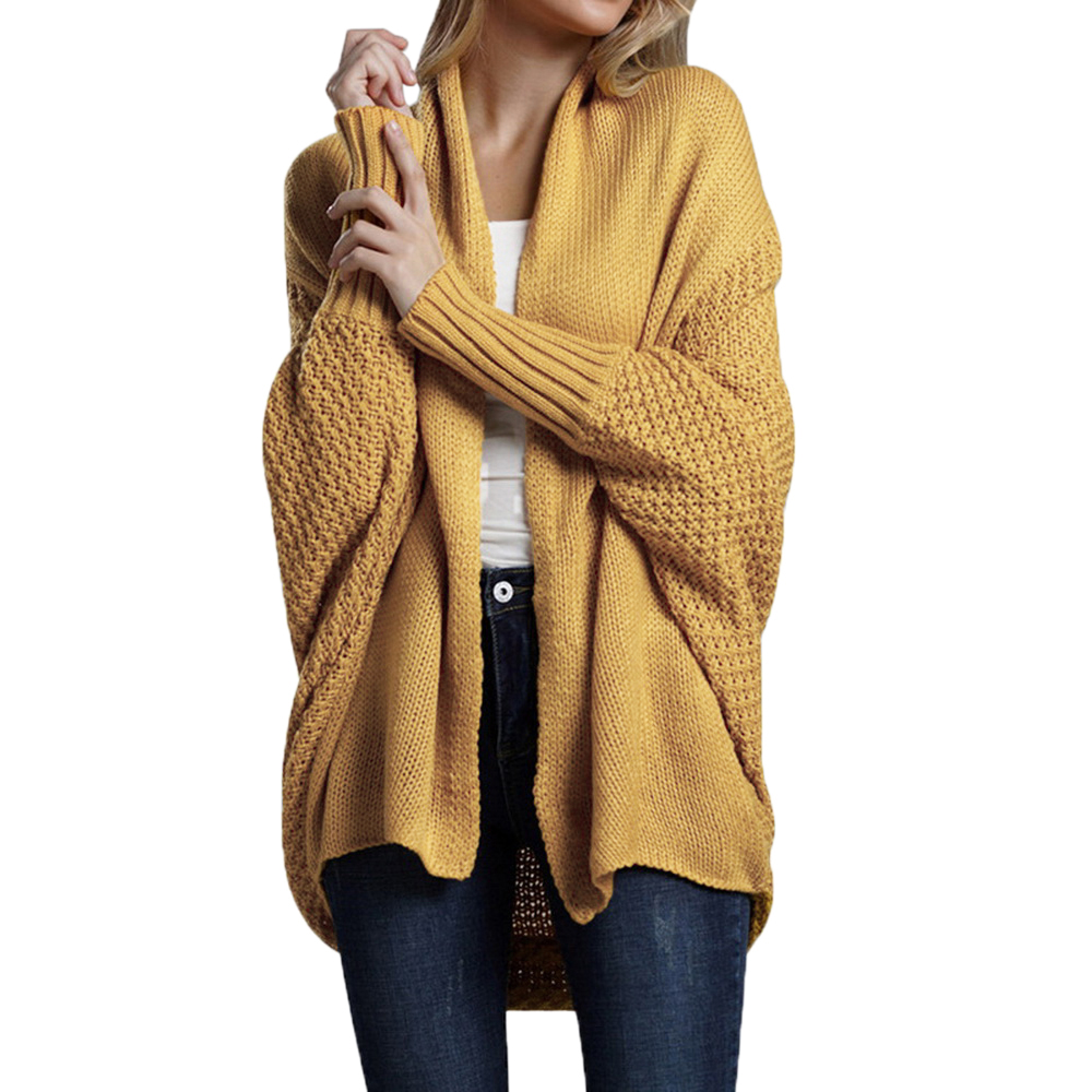 CALOFE Casual Batwing Sleeve Knitwear Cardigan Women Retro Harajuku Style Long Knitted Outwears Female Elegant Jumpers Coat Top
