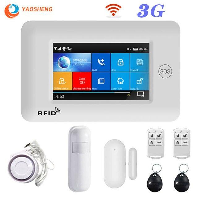 3G GSM WIFI Hệ Thống Báo Động Ứng Dụng Điều Khiển Nhà Thông Minh GPRS Không Dây 433MHz Báo Động Với Bộ Cảm Biến PIR còi Báo Động Cửa Cảm Biến & RFID