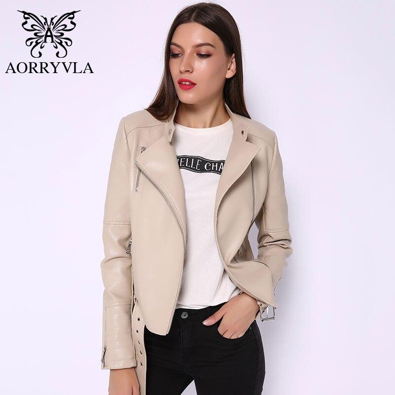 AORRYVLA 2019 New Autumn Women's   Leather   Jacket With Belt Faux   Leather   Jackets Motorcycle Zipper Basic Coat Female Biker Jacket