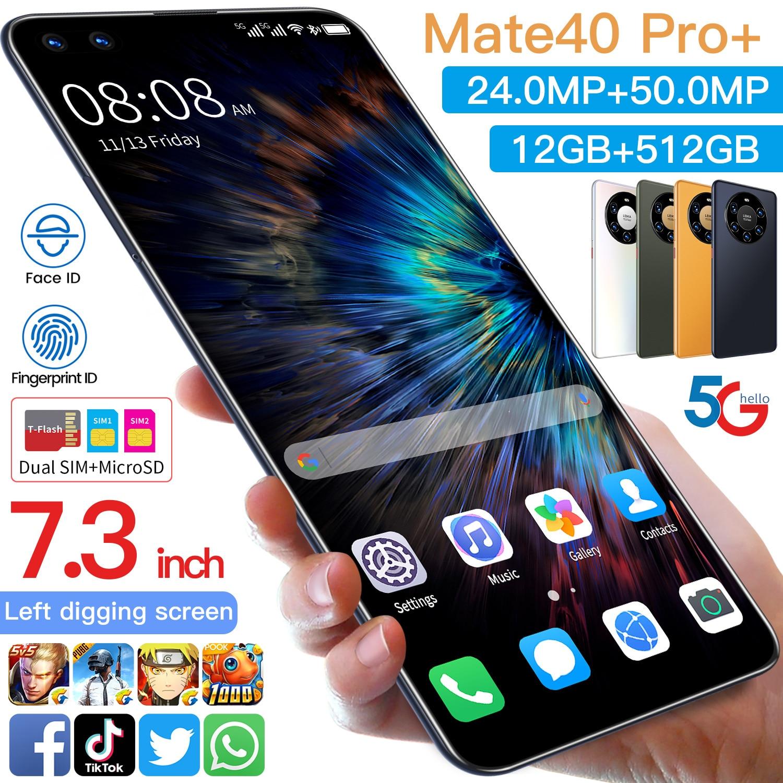 Mate40pro-teléfono inteligente versión Global, 7,3 pulgadas, Android 10,0, identificación facial, MTK6889, Tarjeta SIM Doble