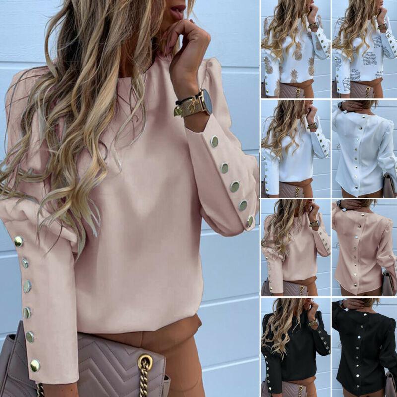 Blusa informal de manga larga con botones en el trasero para otoño, camisa con estampado de botones en el trasero para mujer, cuello redondo, talla grande, 2020