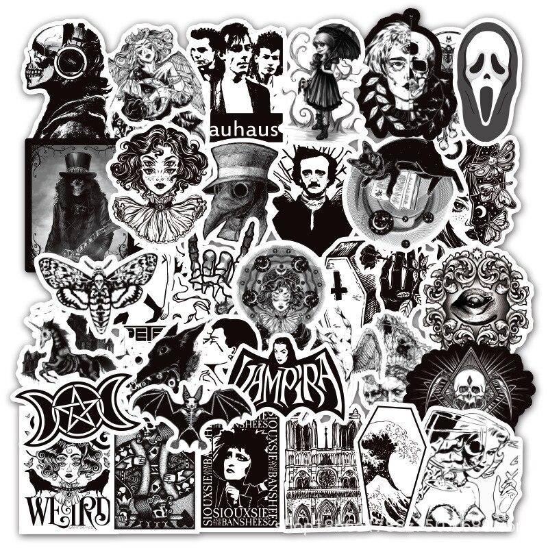 Pegatinas de grafiti para portátil, pegatinas de calavera de Terror, estilo gótico, blanco y negro, 50 Uds., bricolaje, equipaje, guitarra, pegatina para patineta, Juguetes