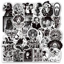 Autocollants horreur, crâne, étiquette de Graffiti, Style gothique, noir et blanc, pour bricolage, bagage, guitare, Skateboard, jouets, 4 Styles, 50 pièces