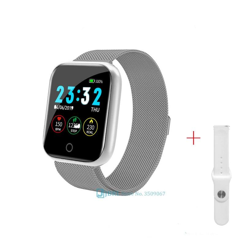 Fashion Stainless Steel Smart Watch Women Man Sport Watch Electronic Wristwatch Fitness Tracker Square Female Smartwatch Clock