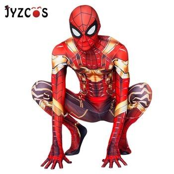 цена JYZCOS New Iron Spiderman Costume Spider Man Anime Suit Spider-Man Halloween Costumes Men Adult Kids Spider-Man Cosplay Clothing онлайн в 2017 году