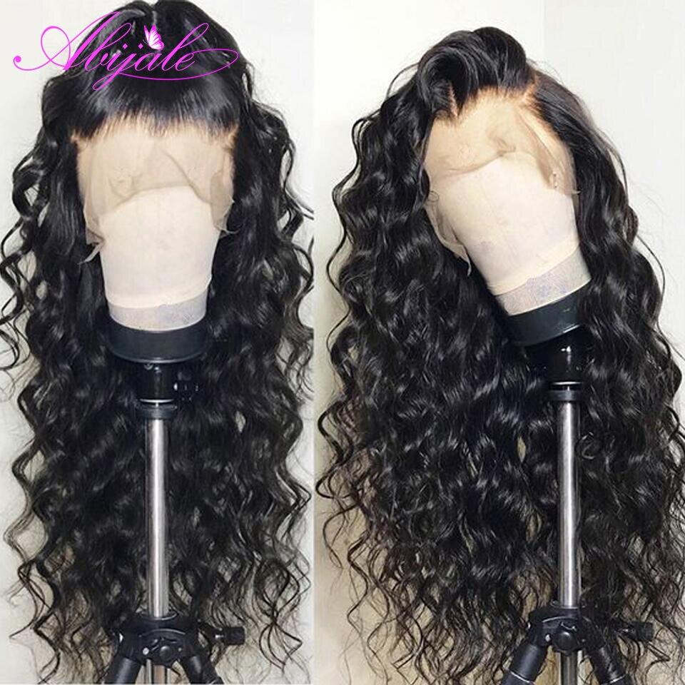 Парик Abijale 13x4 на сетке спереди, бразильский парик с глубокой волной, натуральные волосы Remy, искусственные волосы 4x4, парик на сетке 150% D
