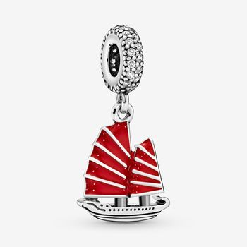 JrSr new 100% 925 Sterling Silver Beads Chinese Junk Ship Dangle Charm fit Pandora Bracelet Women DIY Jewelry gift Free shipping цена 2017
