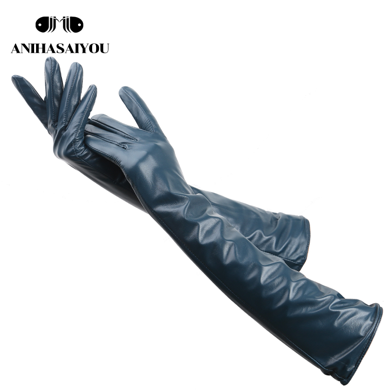 Multiple Colors 50cm Long Leather Gloves,sheepskin Women's Leather Gloves,warm Women's Winter Gloves,Simple Women's Gloves-369