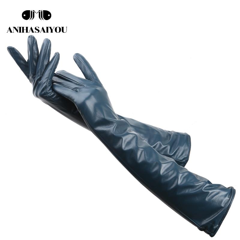 Multiple Colors 50cm Long Leather Gloves,sheepskin Women's Leather Gloves,warm Women's Winter Gloves,Simple Women's Gloves-369