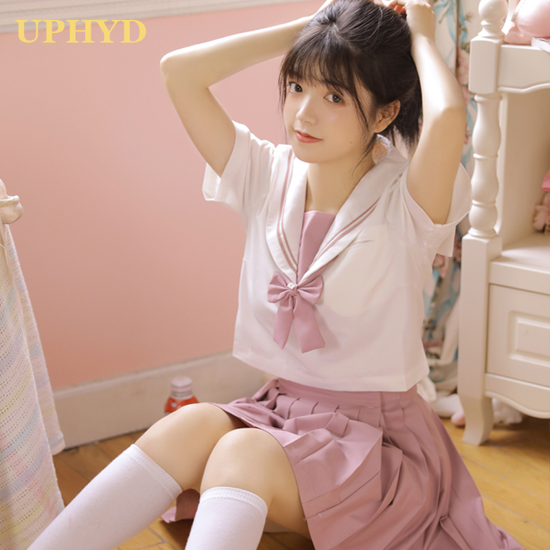 UPHYD 2019 Summer Hot Sale Sailor Cosplay Girl  School Uniforms Navy Style Jk Uniform For Gilrs Top+Skirt+Tie