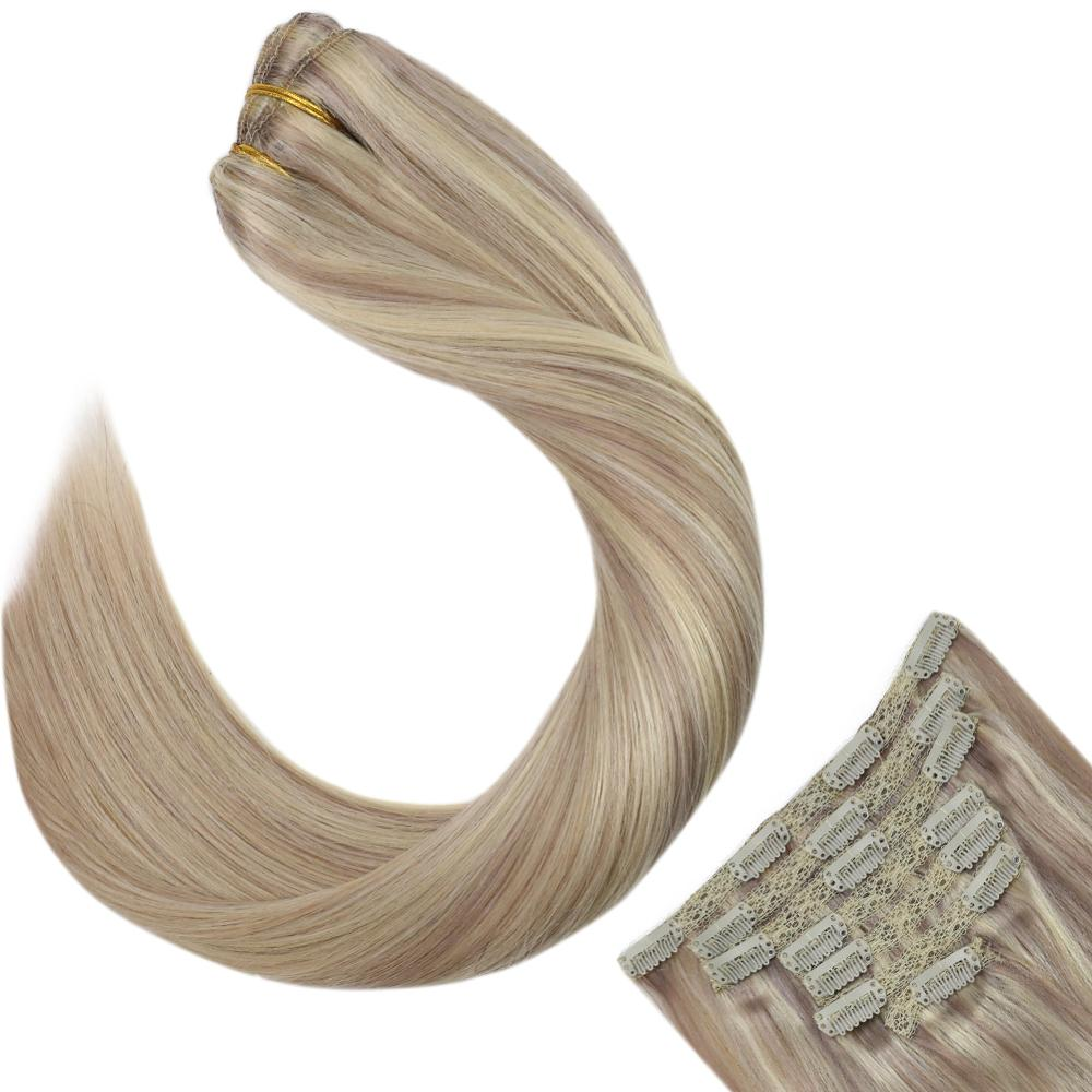 Ugeat Clip In Full Head Hair Extensions Balayage Ash Blonde Color Hair 14-24