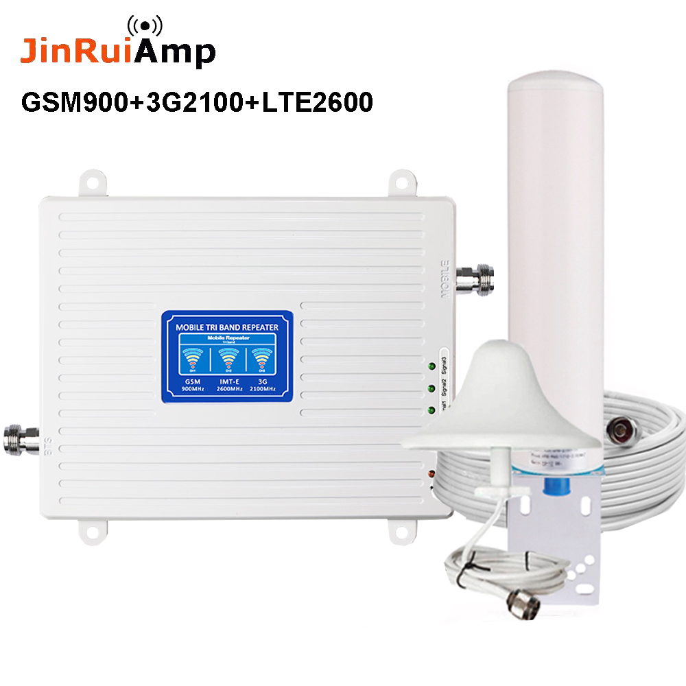 2G 3G 4G Tri Band Signal Booster GSM 900+(B1)WCDMA 2100+(B7)FDD LTE 2600 Cellphone Signal Repeater Mobile Cellular Amplifier Kit