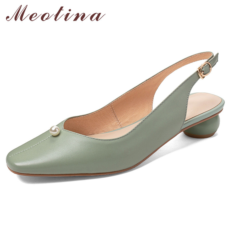 Meotina High Heels Women Pumps Natural Genuine Leather Pearl Strange Style Heel Slingbacks Shoes Real Leather Buckle Shoes Lady