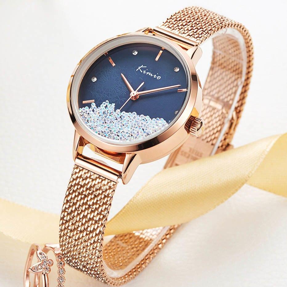 KIMIO Fashion Crystal Women's Watches Quartz Watch Women Wristwatch Stainless Steel Mesh Womans Watch Ladies Relogio Feminino