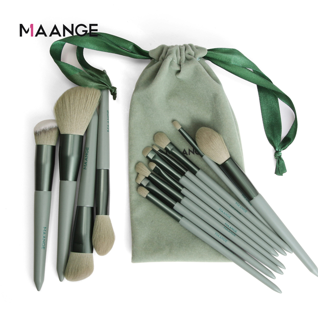 MAANGE 13pcs Quick-Drying Makeup Brush Set With Bag Soft Blush Loose Powder Highlight Eye Shadow Brush Portable Beauty Tool 6