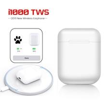 i1000 TWS Pop up Bluetooth 5.0 Headset 6D Bass Touch control Wireless Earphones QI Charging PK i10 i12 i20 i30 i800 i2000