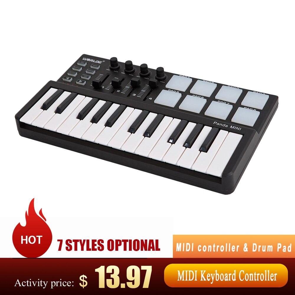 Хит продаж, MIDI-контроллер клавиатуры WORLDE Panda и барабанная мини-клавиатура, 25 клавиш, ультрапортативный USB MIDI-контроллер клавиатуры со светод...