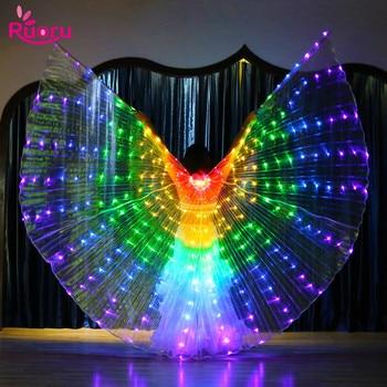 Ruoru arco-íris cor alas ângulo led asas adulto traje led circo luz led trajes luminosos festa mostrar asas isis dancewear