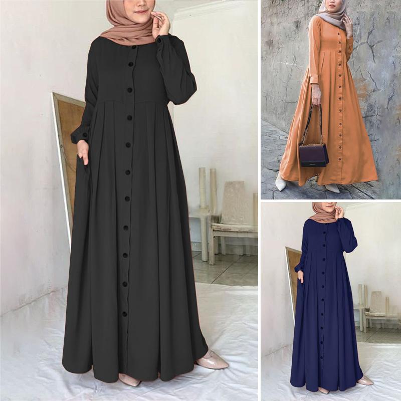 Women Muslim Dubai Abaya Turkey Hijab Dress ZANZEA Autumn Long Sleeve Buttons Down Sundress Islam Clothing Abayas Maxi Vestidos