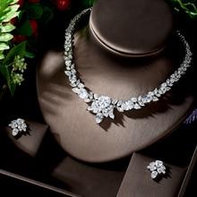 HIBRIDE aşk kalp şekli beyaz kübik zirkonya düğün parti gelin yuvarlak kolye takı setleri kadınlar için aksesuarları N 1250