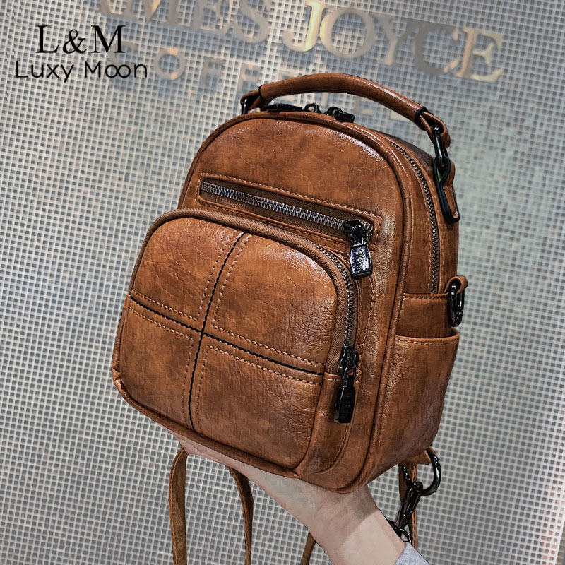 Women High Quality Leather Bag Multifunctional Backpack Fashion Teenage Girls Mini Backpacks Shoulder Back Pack Mochila XA637H