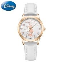 Кварцевые часы Принцессы Диснея, Минни Микки Маус, кожаные водонепроницаемые часы для девушек и женщин, часы для подростков с календарем