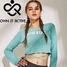 Новые женские спортивные свободные протекающие топы, рубашки для йоги, топы Спортивные Фитнес-спорт с длинными рукавами, футболки, спортивная одежда для йоги, сексуальные P364