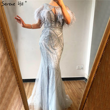 Dubai Mermaid V Neck Beading Diamond Formal Dress 2020 Silver Feathers Shawl Yarn Sexy Evening Dresses Serene Hill BLA70355