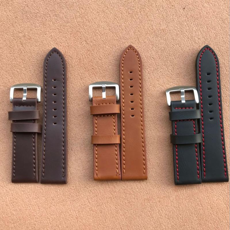 Новый 18 мм/20 мм/22 мм/24 мм светильник коричневого цвета в винтажном стиле; Ремешок для наручных часов из искусственной кожи с ремешком на щико...